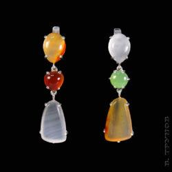 Асимметричные серьги с разноцветными камнями