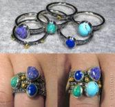 Набор колец с разноцветными камнями