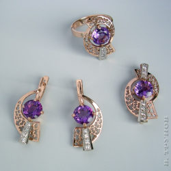Гарнитур с аметистами и бриллиантами
