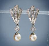 Серьги с жемчугом и бриллиантами