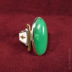 Кольцо из гарнитура с хризопразами